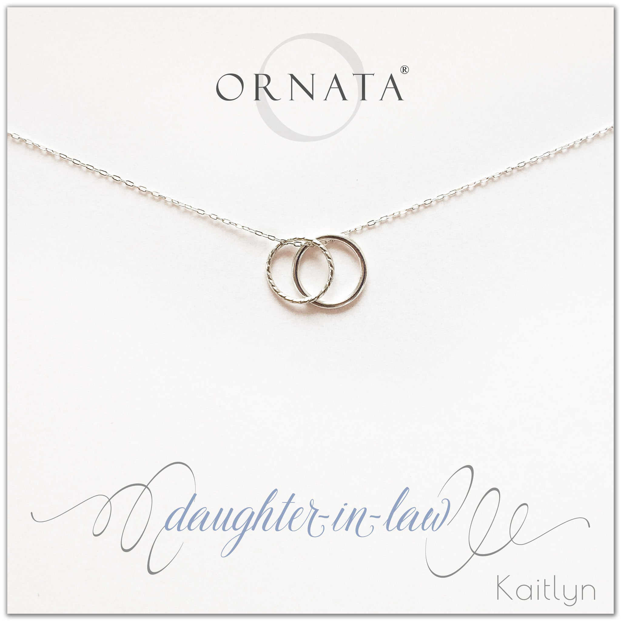 Daughter in law necklace - personalized silver necklaces. Our sterling silver custom jewelry is a perfect gift for daughters in law from mothers in law or fathers in law. Also a good gift for Mother's Day. Part of our Generations Jewelry collection.