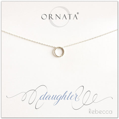 Daughter necklace - personalized silver necklaces. Our sterling silver custom jewelry is a perfect gift for daughters from mothers or fathers. Also a good gift for Mother's Day. Part of our Generations Jewelry collection.