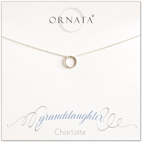 Granddaughter necklace - personalized silver necklaces. Our sterling silver custom jewelry is a perfect gift for granddaughter. Part of our Generations Jewelry collection. Also a good gift for Mother's Day.