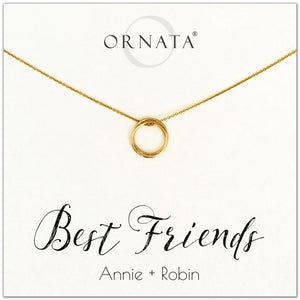 Personalized gold necklaces for best friends. Our 14 karat gold filled custom jewelry is a perfect gift for a sister or best friend. Friendship necklaces make good birthday gifts for best friends or sisters.