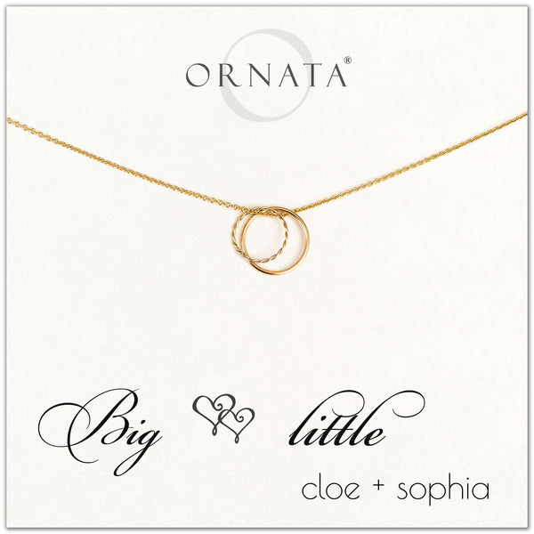 Big Little Sorority Sisters personalized necklace. Our 14 karat gold filled custom sorority necklaces make good gifts for sororities or sisters. Perfect for big little reveal day!