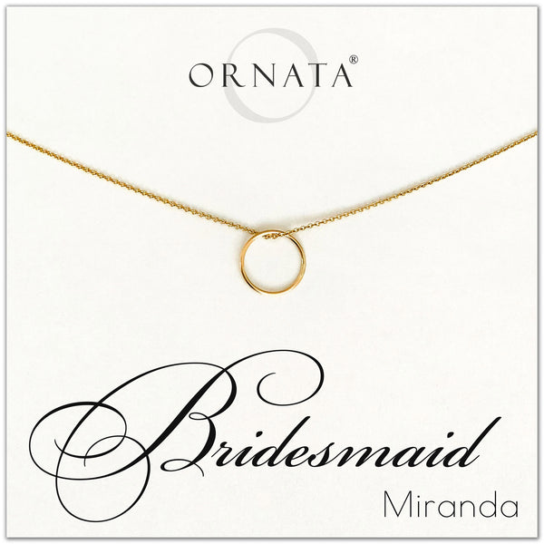 Personalized bridesmaid necklace. Our 14 karat gold filled custom wedding jewelry is a perfect gift for bridesmaids and bridal parties. Customize with the names of your bridal party members! Great bridesmaid gift and gift for weddings, wedding showers, bridal showers, and bachelorette parties.