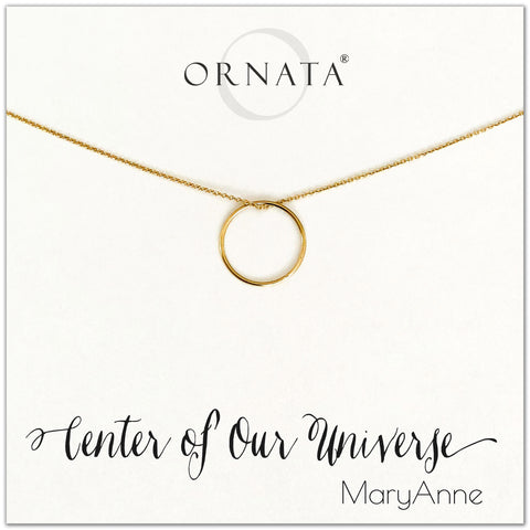 Center of our Universe necklace - personalized gold necklaces. Our 14 karat gold filled custom jewelry is a perfect gift for best friends, sisters, daughters, or mothers. Inspirational jewelry is also a good gift for Mother's Day.