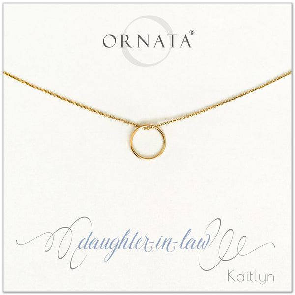 Daughter in Law - personalized gold necklaces. Our 14 karat gold filled custom jewelry is a perfect gift for daughters in law from mothers in law. Part of our Generations Jewelry collection.