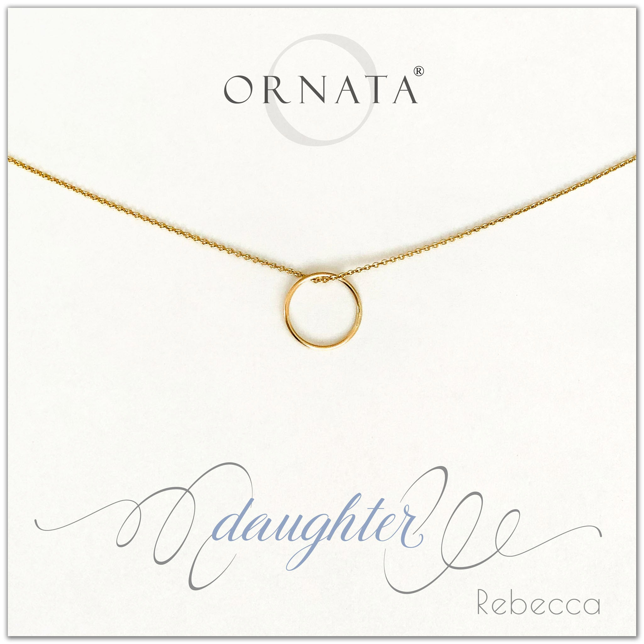 Daughter necklace - personalized gold necklaces. Our 14 karat gold filled custom jewelry is a perfect gift for daughters from mothers or fathers. Also a good gift for Mother's Day. Part of our Generations Jewelry collection.
