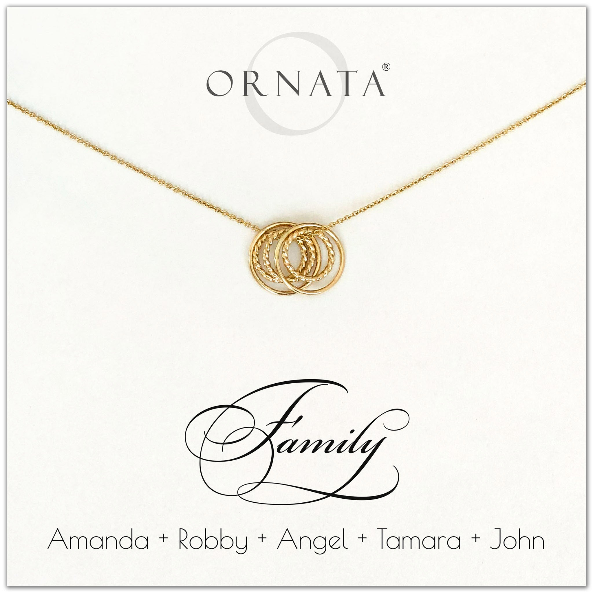 Family of Five Personalized gold necklaces for families of 5. Our 14 karat gold filled custom jewelry is a perfect gift for new families, newlyweds, parents, new parents, friends, sisters, mothers, and grandmothers. Family jewelry is also a good gift for Mother's Day.