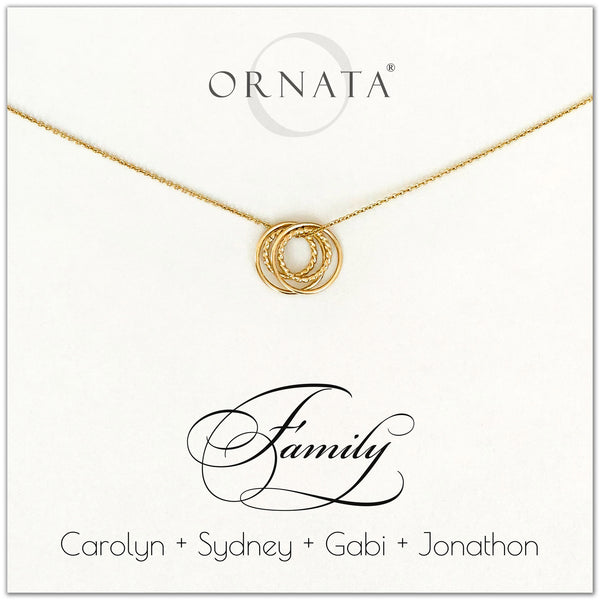 Family of Four Personalized gold necklaces for families of 4. Our 14 karat gold filled custom jewelry is a perfect gift for new families, newlyweds, parents, new parents, friends, sisters, mothers, and grandmothers. Family jewelry is also a good gift for Mother's Day.