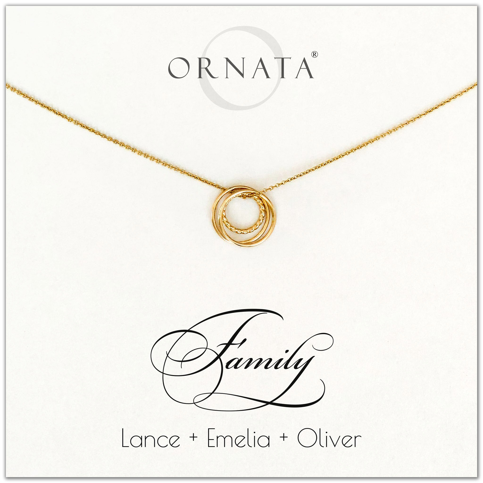 Family of Three Personalized gold necklaces for families of three. Our 14 karat gold filled custom jewelry is a perfect gift for new families, newlyweds, parents, new parents, friends, sisters, mothers, and grandmothers. Family jewelry is also a good gift for Mother's Day.