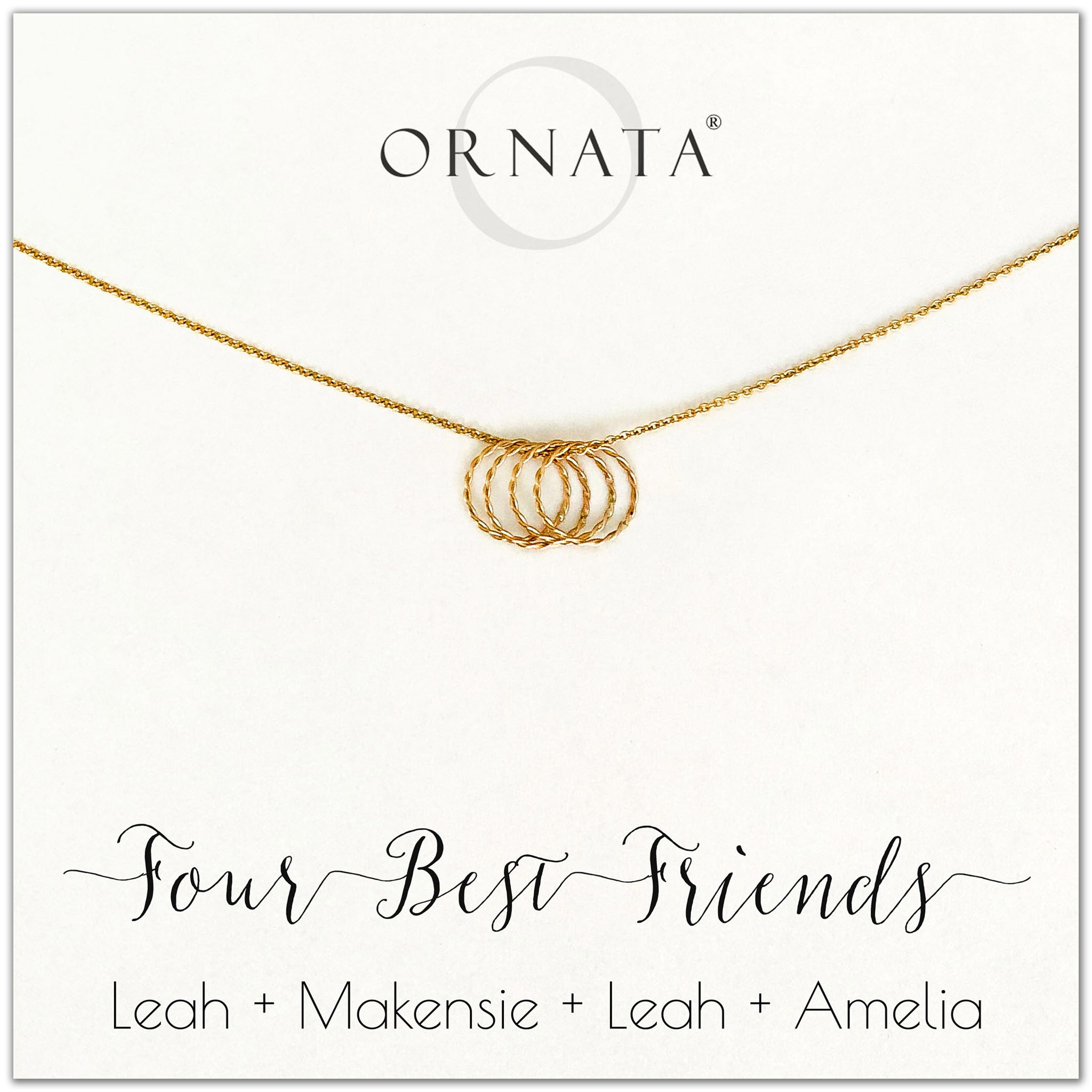 Personalized gold necklaces for four best friends. Our 14 karat gold filled custom jewelry is a perfect gift for a sister or best friend.