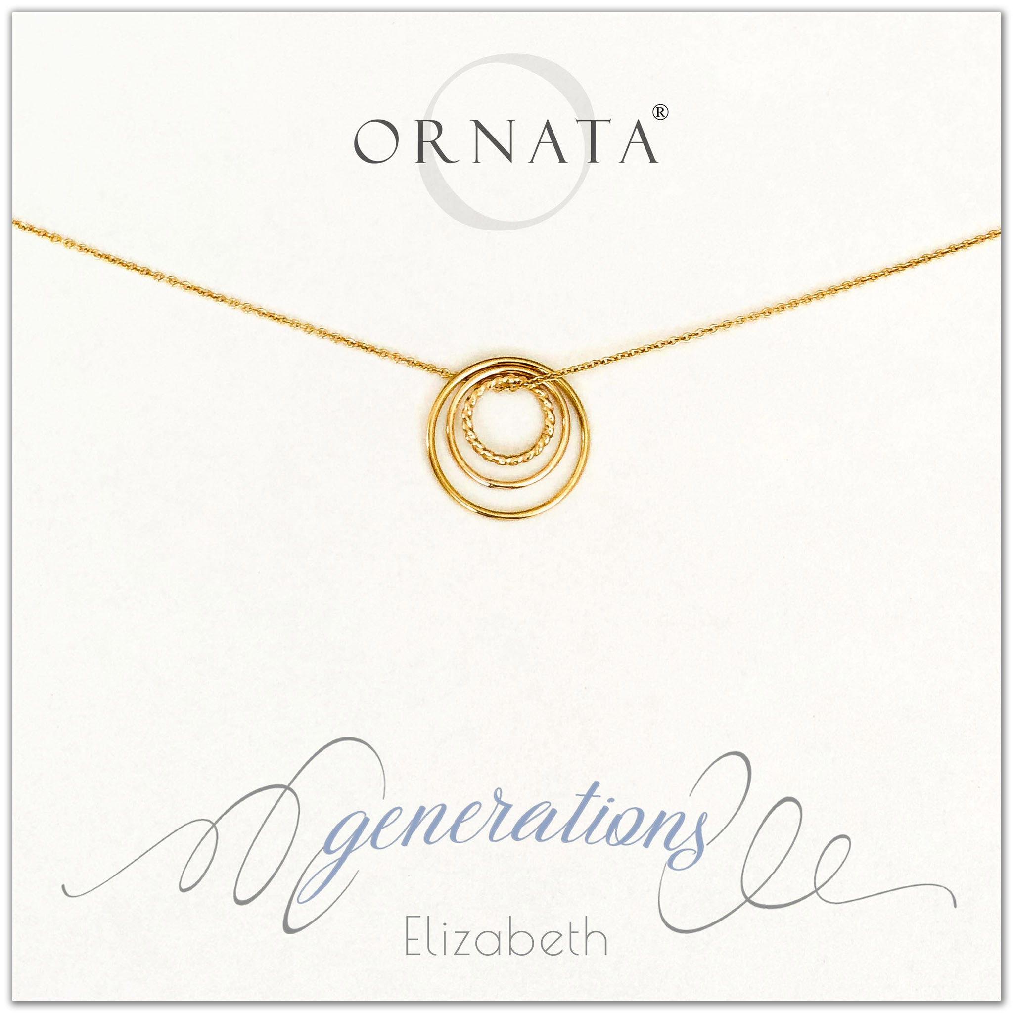 Three Generations Jewelry - personalized gold necklaces. Our 14 karat gold filled custom jewelry is a perfect gift for mothers, daughters, granddaughters, grandmothers, grandmas, sisters, or family members. Three rings represent three generations. Perfect gift for Mother's Day or Mother's Day Jewelry.