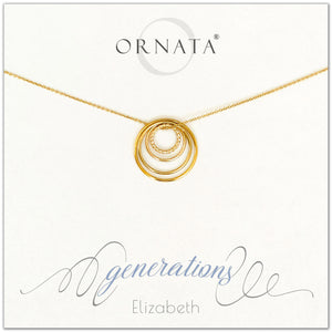 Four Generations Jewelry - personalized gold necklaces. Our 14 karat gold filled custom jewelry is a perfect gift for great grandmothers, great grandmas, mothers, daughters, granddaughters, grandmothers, grandmas, sisters, or family members. Three rings represent three generations. Perfect gift for Mother's Day or Mother's Day Jewelry.
