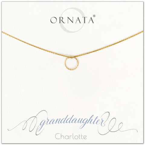 Granddaughter necklace - personalized gold necklaces. Our 14 karat gold filled custom jewelry is a perfect gift for grandmas to give their granddaughters. Part of our Generations Jewelry collection. Also a good gift for Mother's Day or gift from grandma.