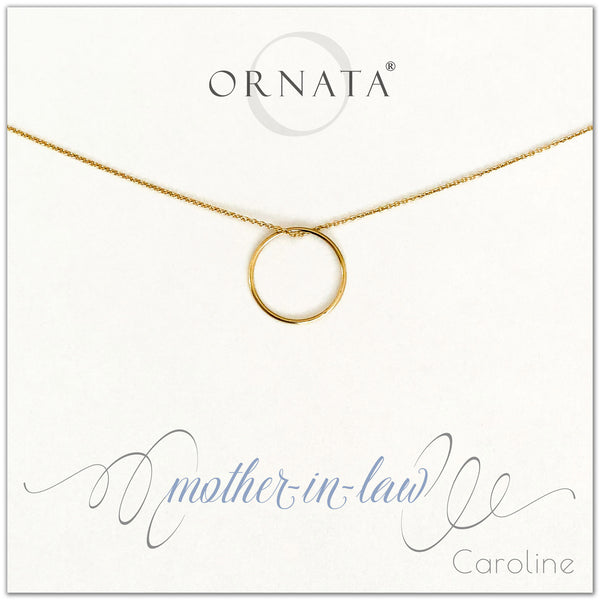 Mother in Law - personalized gold necklaces. Our 14 karat gold filled custom jewelry is a perfect gift for mothers in law. Also a good gift for Mother's Day.