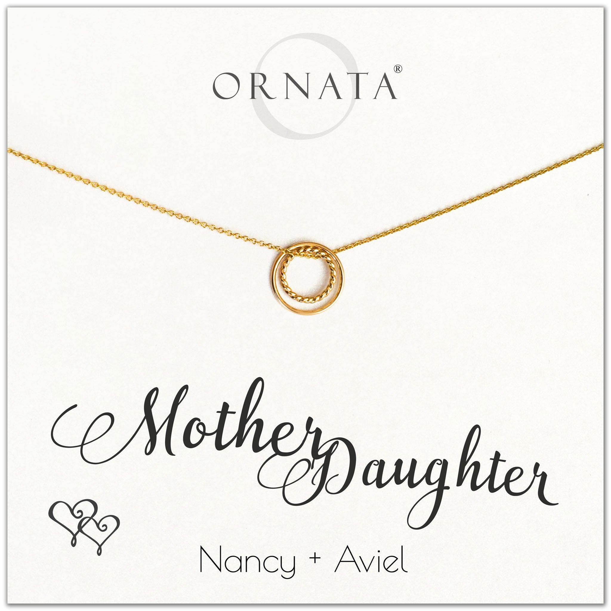 Mother Daughter necklace - personalized gold necklaces. Our 14 karat gold filled custom jewelry is a perfect gift for mothers, daughters, granddaughters, grandmothers, sisters, wives, and family members. Also a good gift for Mother's Day.