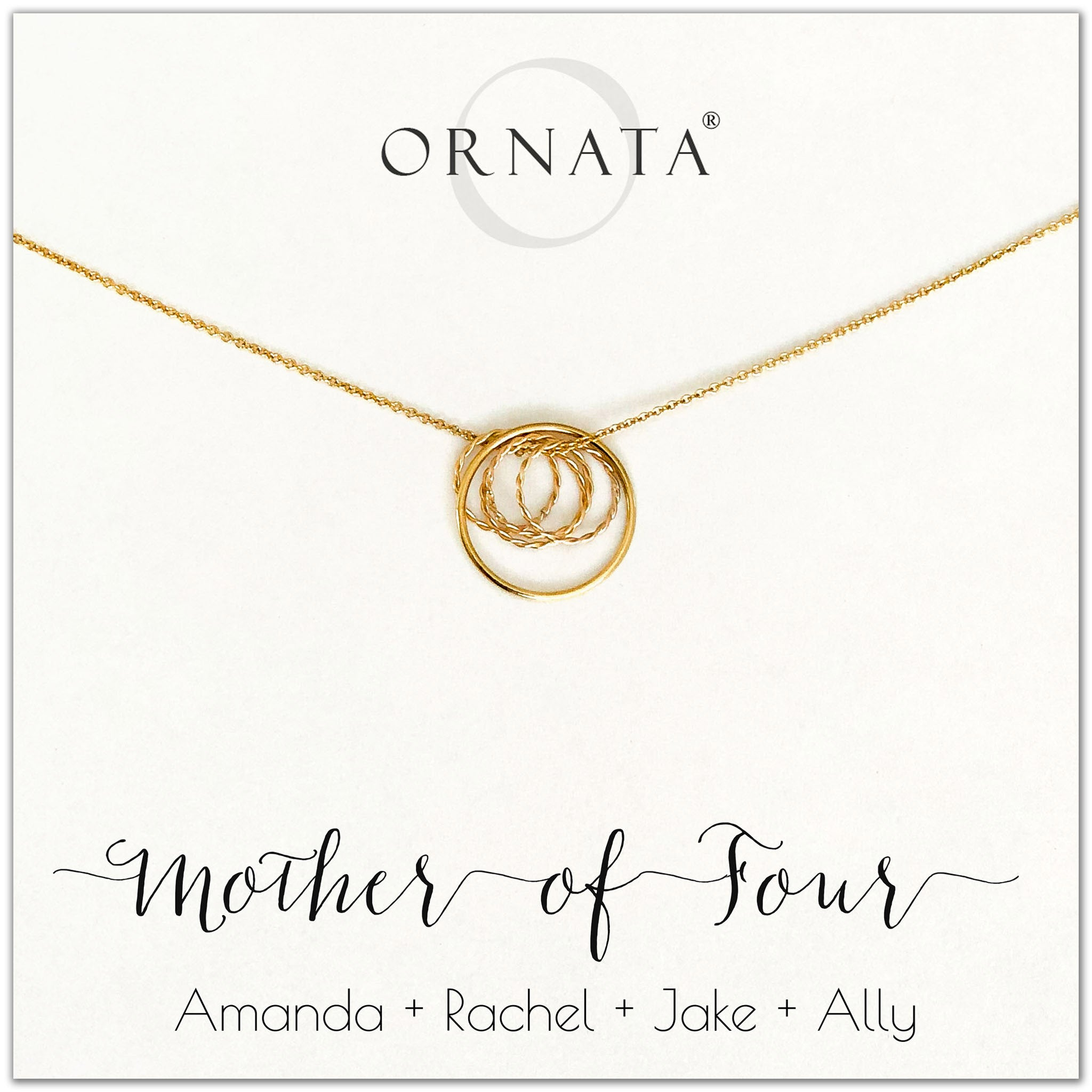 Mom or Mother of Four - personalized gold necklaces. Our 14 karat gold filled custom jewelry is a perfect gift for mothers of four children, daughters, granddaughters, grandmothers, sisters, best friends, wives, girlfriends, and family members. Also a good gift for Mother's Day.