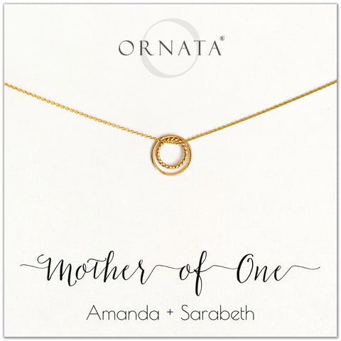 Mom or Mother of One - personalized gold necklaces. Our 14 karat gold filled custom jewelry is a perfect gift for mothers of one child, daughters, granddaughters, grandmothers, sisters, best friends, wives, girlfriends, and family members. Also a good gift for Mother's Day.