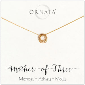 Mom or Mother of Three - personalized gold necklaces. Our 14 karat gold filled custom jewelry is a perfect gift for mothers of three children, daughters, granddaughters, grandmothers, sisters, best friends, wives, girlfriends, and family members. Also a good gift for Mother's Day.