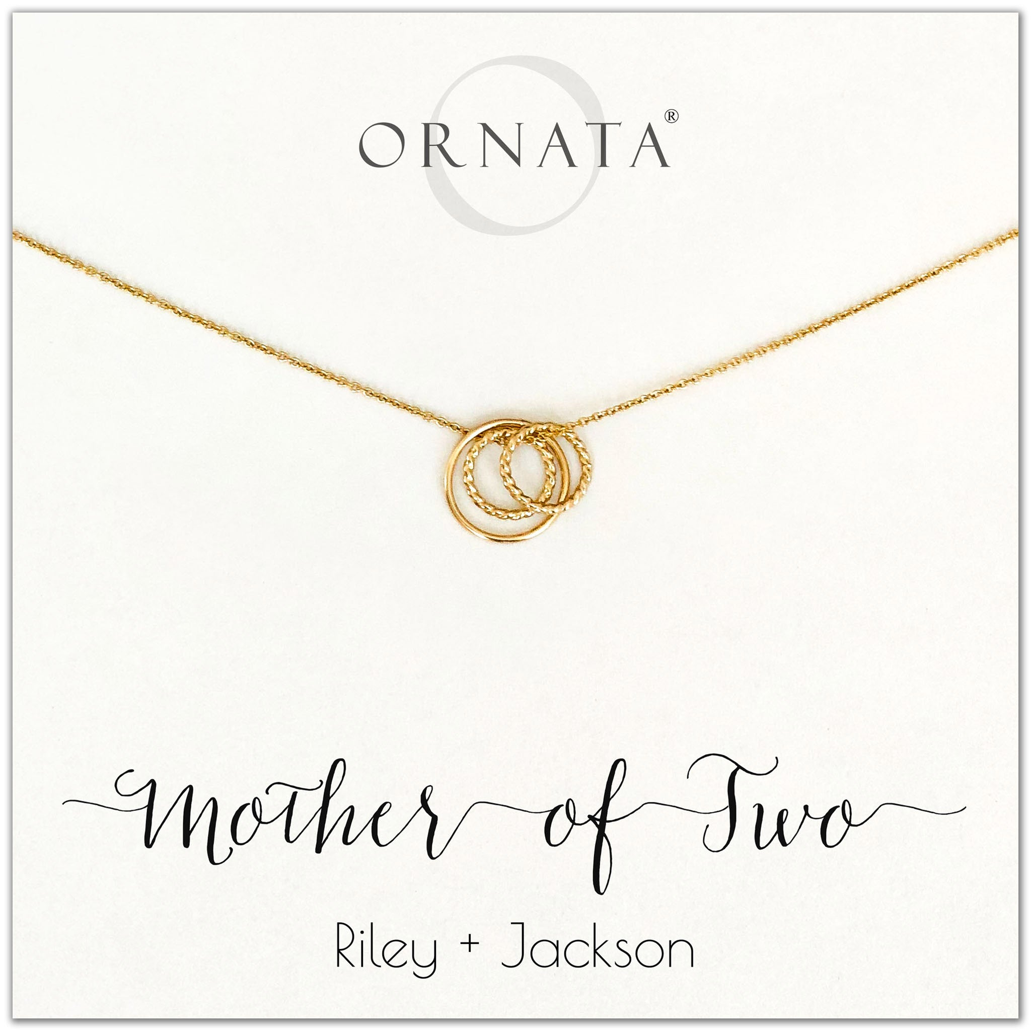 Mom or Mother of Two - personalized gold necklaces. Our 14 karat gold filled custom jewelry is a perfect gift for mothers of two children, daughters, granddaughters, grandmothers, sisters, best friends, wives, girlfriends, and family members. Also a good gift for Mother's Day.