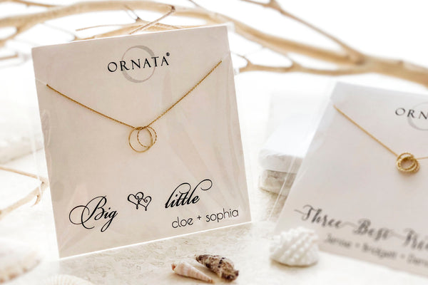 Custom four generations necklace - 4 ring necklace - personalized jewelry is 14 karat gold filled and the custom necklaces are perfect gifts for a mother, great grandmother, daughter, granddaughter, great grandma, grandmother, or family member. Good Mother's Day Gift.