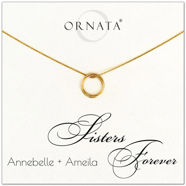 Sisters Forever - personalized gold necklaces. Our 14 karat gold filled custom jewelry is a perfect gift for sisters, best friends, or loved one.