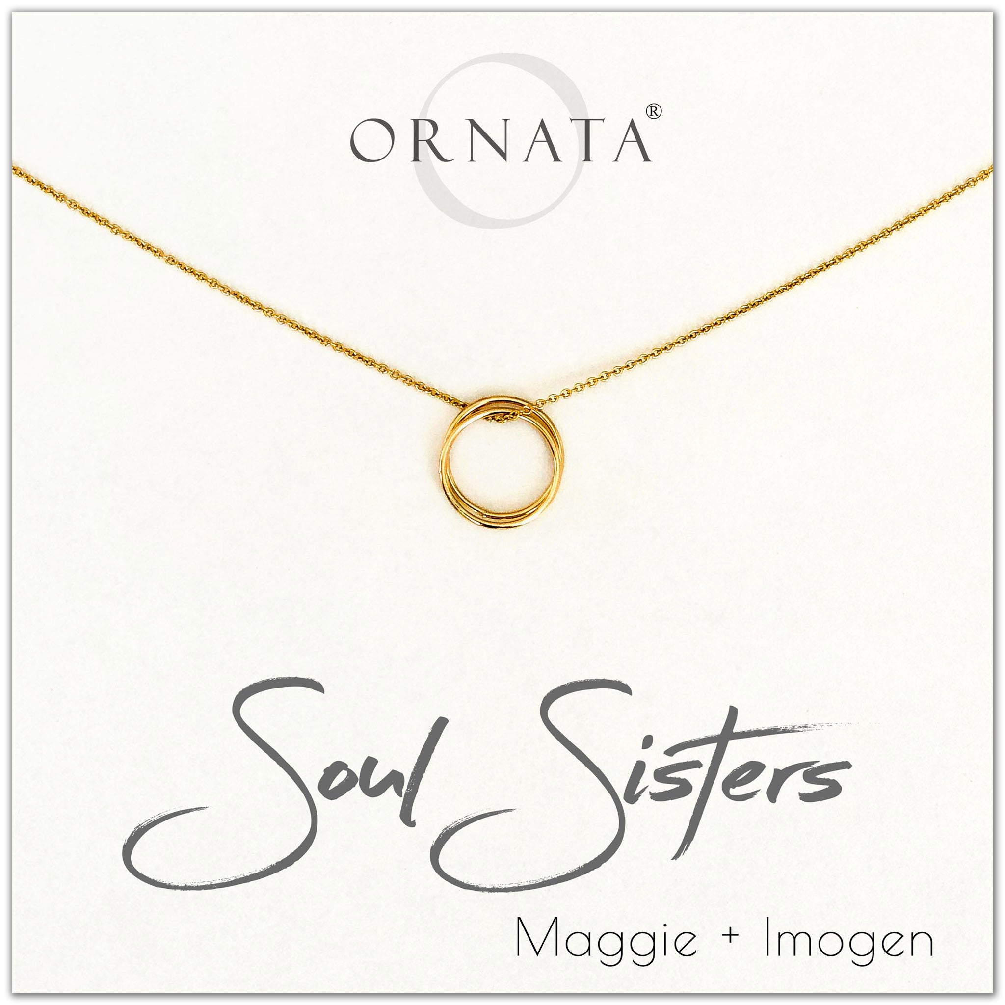 Soul Sisters - personalized gold necklaces. Our 14 karat gold filled custom jewelry is a perfect gift for best friends, sisters, and family.