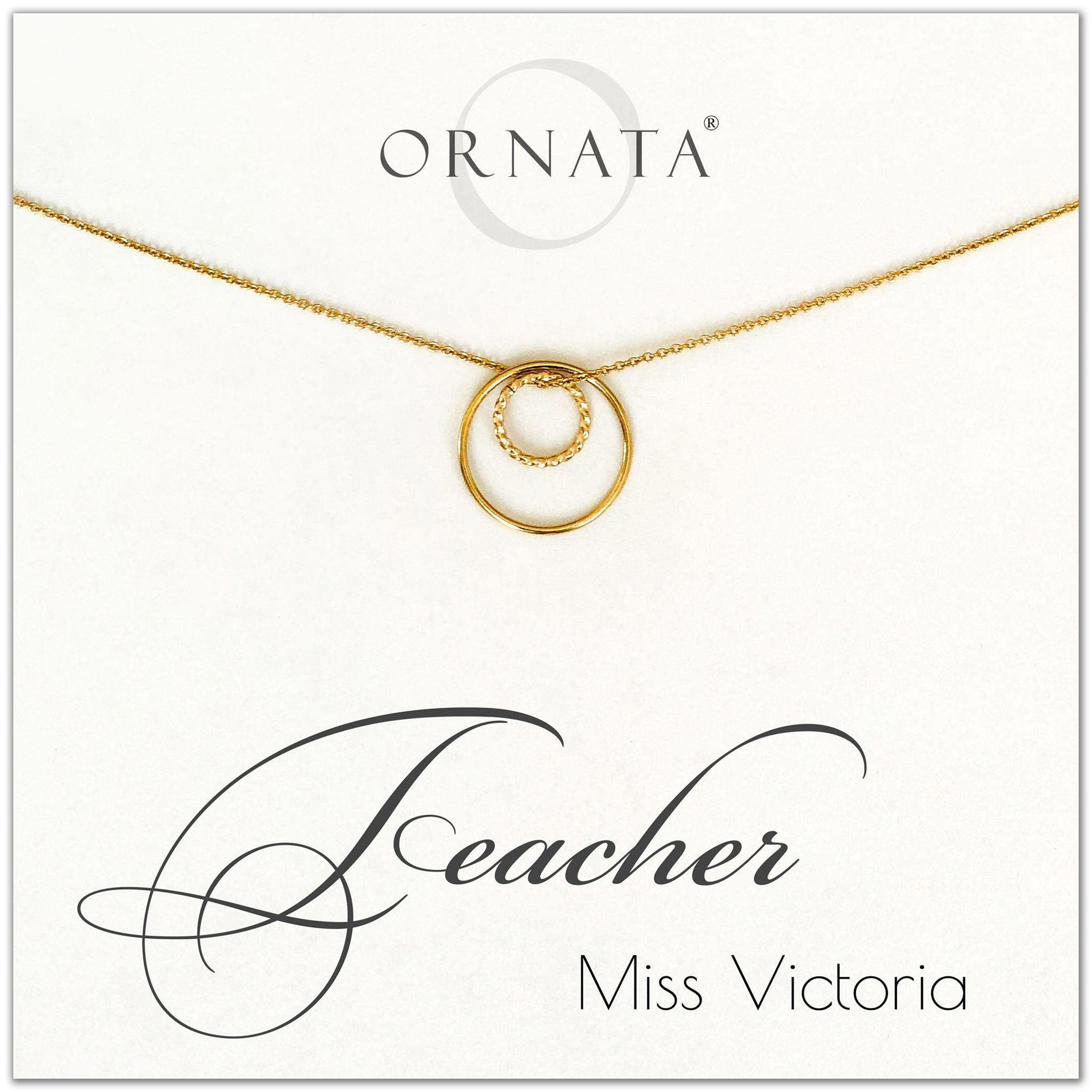 Personalized gold teacher necklaces. Our 14 karat gold filled custom jewelry is a perfect gift for teachers.