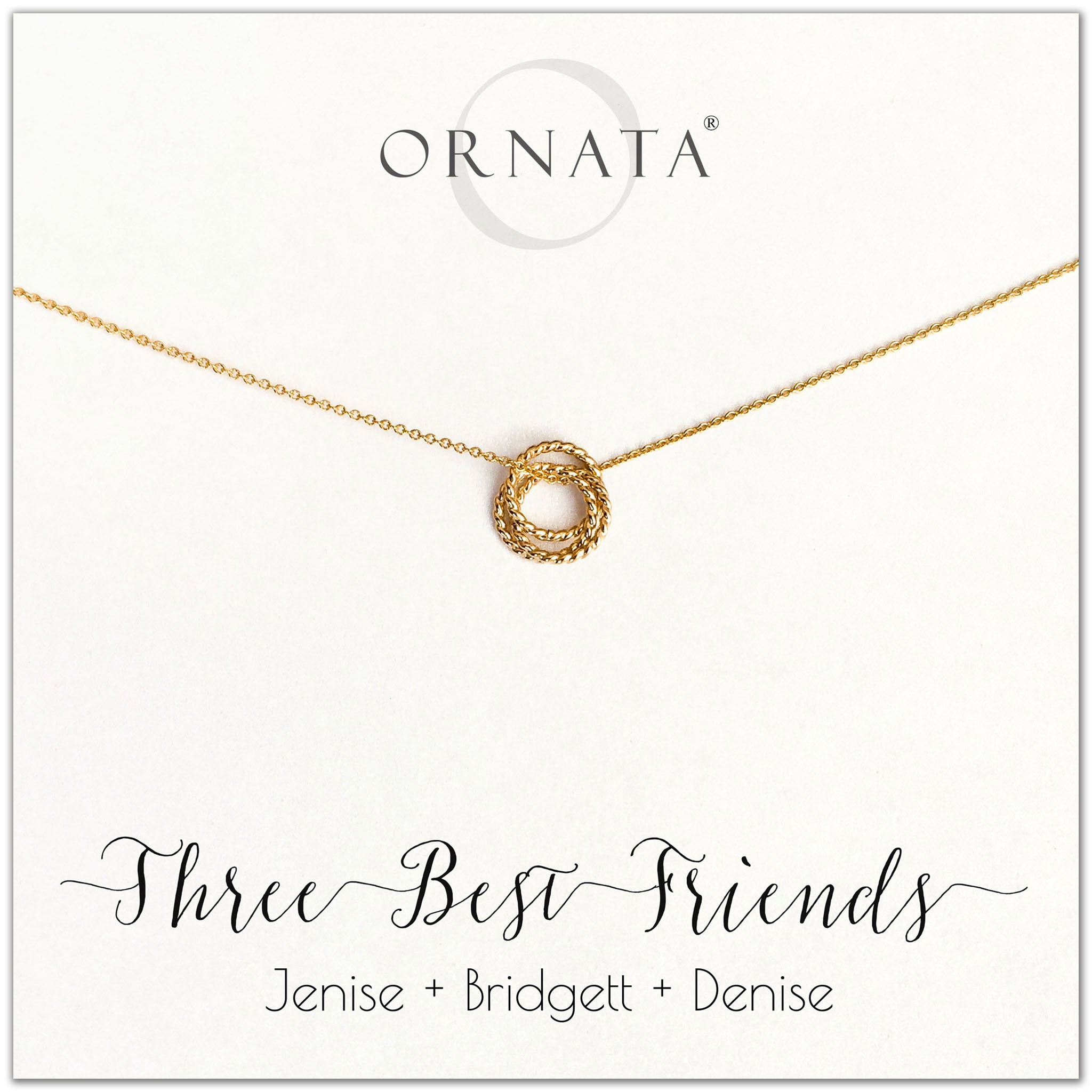 Personalized gold necklaces for three best friends. Our 14 karat gold filled custom jewelry is a perfect gift for a sister or best friend.