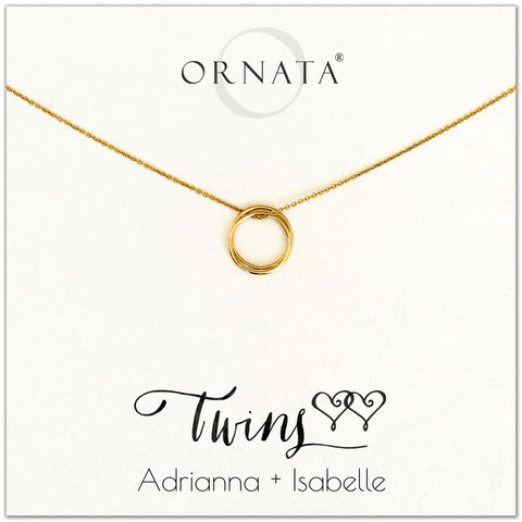 Personalized gold necklaces for twins. Our 14 karat gold filled custom jewelry is a perfect gift for a sister, best friend, mother of twins, or twin.