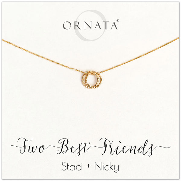 Personalized gold best friend necklaces. Our 14 karat gold filled custom jewelry is a perfect gift for best friends or sisters