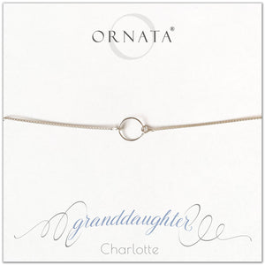 Granddaughter personalized sterling silver bolo bracelet. Our custom bracelets make good gifts for grandmother to give their granddaughters. Great granddaughter gift.