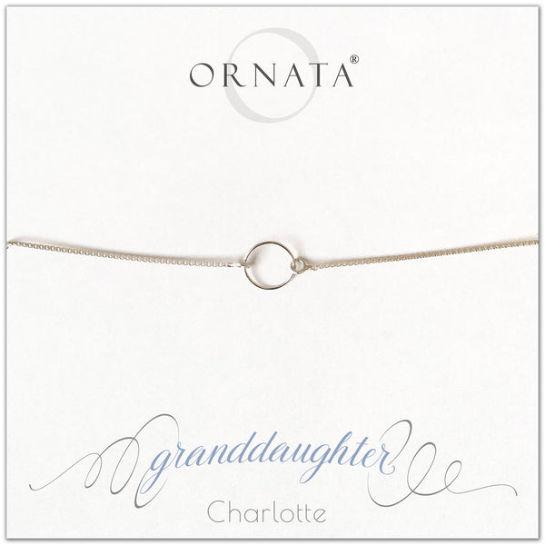 """Granddaughter"" Sterling Silver Bolo Bracelet on Personalized Jewelry Card"