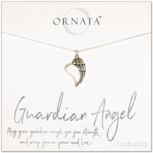 Guardian Angel necklace - personalized silver guardian angel necklace. Our sterling silver custom jewelry is a perfect gift to symbolize angels with a delicate angel charm. Good condolence gift of spiritual jewelry with an angel wing charm.