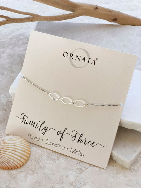 """Family of Three"" Sterling Silver Bolo Bracelet on Personalized Jewelry Card"