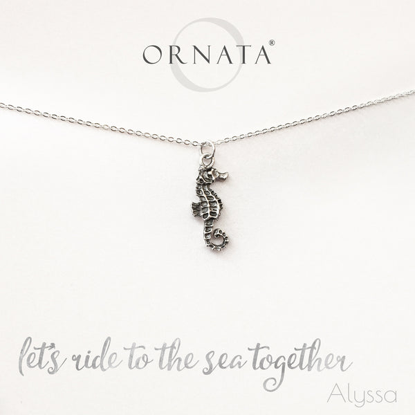 """Let's Ride to the Sea Together"" Seahorse Sterling Silver and Silver Plated Necklace"