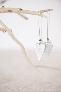 Silver Plated Long Heart Earrings