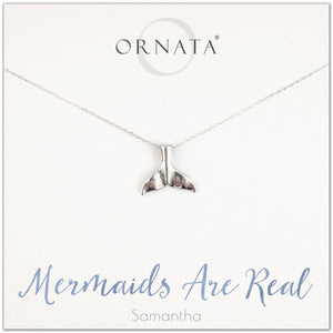 """Mermaids Are Real"" Sterling Silver Mermaid Necklace on Personalized Jewelry Card"