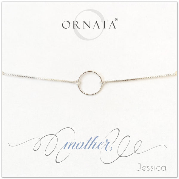 Mother personalized sterling silver bolo bracelet. Our custom bracelets make good gifts for moms and family. Great mother's day gift.