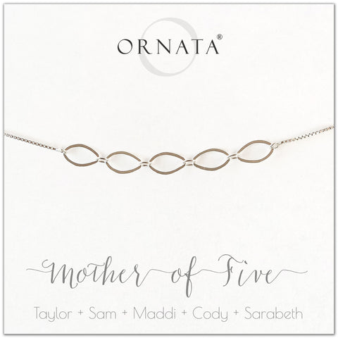 Mother of five personalized sterling silver bolo bracelet. Our custom bracelets make good gifts for moms and family. Great mother's day gift.