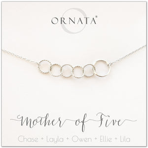 Mom or Mother of Five - personalized silver necklaces. Our sterling silver custom jewelry is a perfect gift for mothers of five children, wives, or family members. Also a good gift for Mother's Day. Delicate sterling silver interlocking rings represent a mother and her five children.