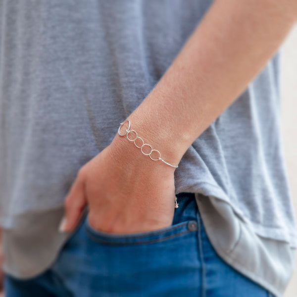 Personalized bracelet - sterling silver mother bracelet - custom mother's day jewelry for mothers of four children.