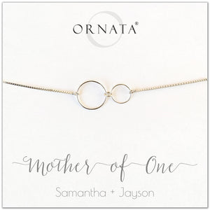 """Mother of One"" Sterling Silver Bolo Bracelet on Personalized Jewelry Card"