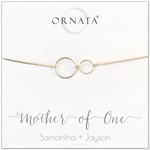 Mother of one personalized sterling silver bolo bracelet. Our custom bracelets make good gifts for moms and family. Great mother's day gift.