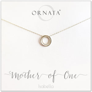 Mom or Mother of One - personalized silver necklaces. Our sterling silver custom jewelry is a perfect gift for mothers of one child, wives, or family members. Also a good gift for Mother's Day. Delicate sterling silver interlocking rings represent a mother and child.