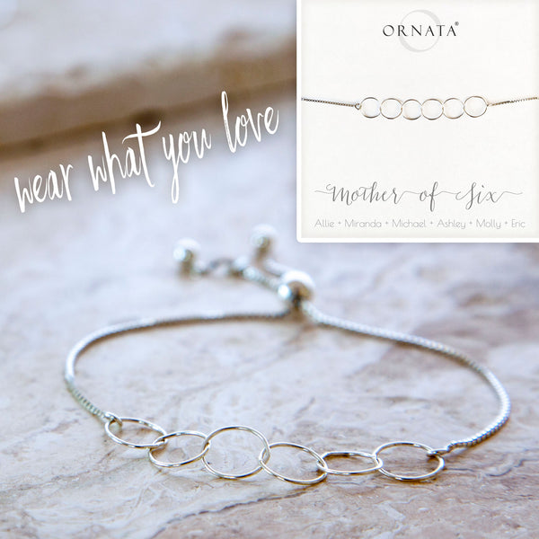 Personalized bracelet - sterling silver mother bracelet - custom mother's day jewelry for mothers of six children.