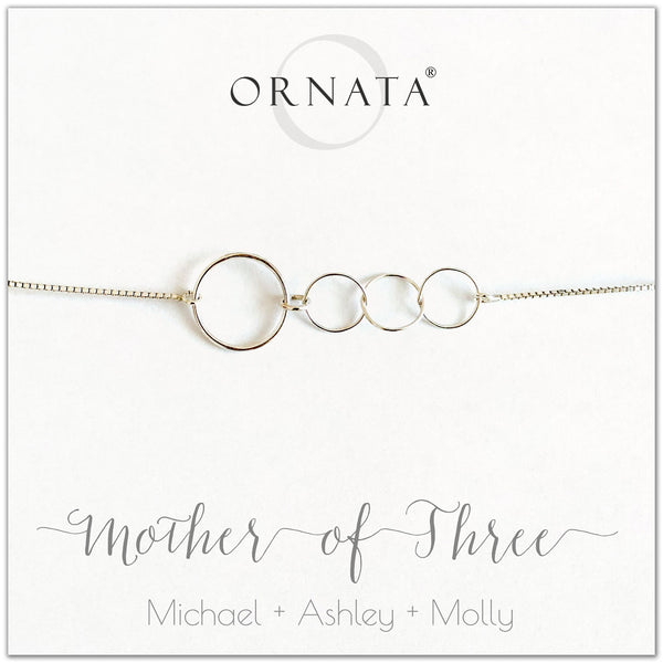 Mother of three personalized sterling silver bolo bracelet. Our custom bracelets make good gifts for moms and family. Great mother's day gift.