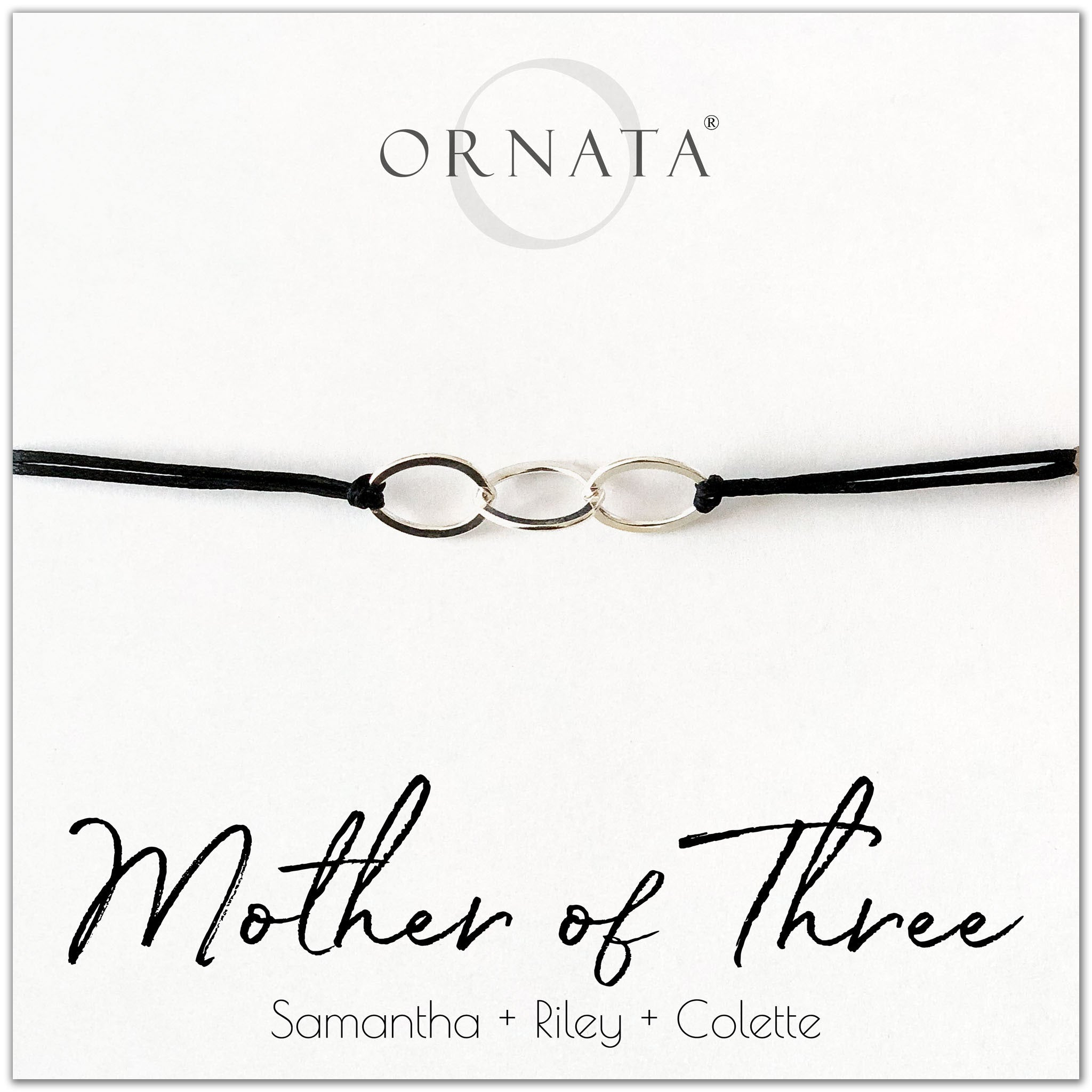 Mother of Three personalized sterling silver corded bolo bracelet. Our custom cord bracelets make good gifts for moms or mothers of 3 children. Mother bracelet with three sterling silver interlocking rings on black cord to represent a mother with three children. Great custom Mother's Day gift.
