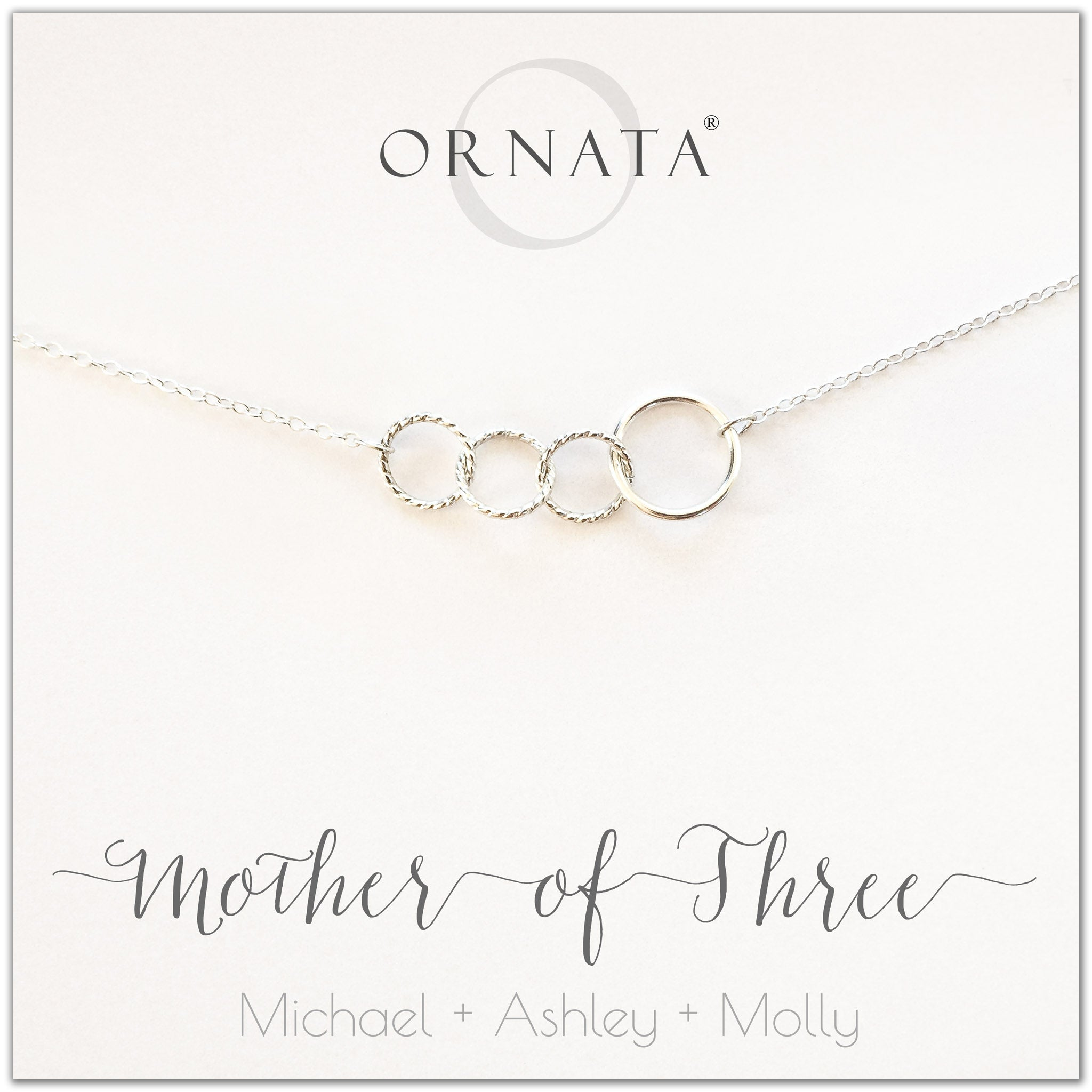 Mom or Mother of Three - personalized silver necklaces. Our sterling silver custom jewelry is a perfect gift for mothers of three children, wives, or family members. Also a good gift for Mother's Day. Delicate sterling silver interlocking rings represent a mother and her three children.
