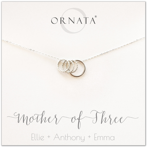 Mom or Mother of Three - personalized silver necklaces. Our sterling silver custom jewelry is a perfect gift for mothers of three children, wives, or family members. Also a good gift for Mother's Day. Delicate sterling silver rings represent a mother and her three children.