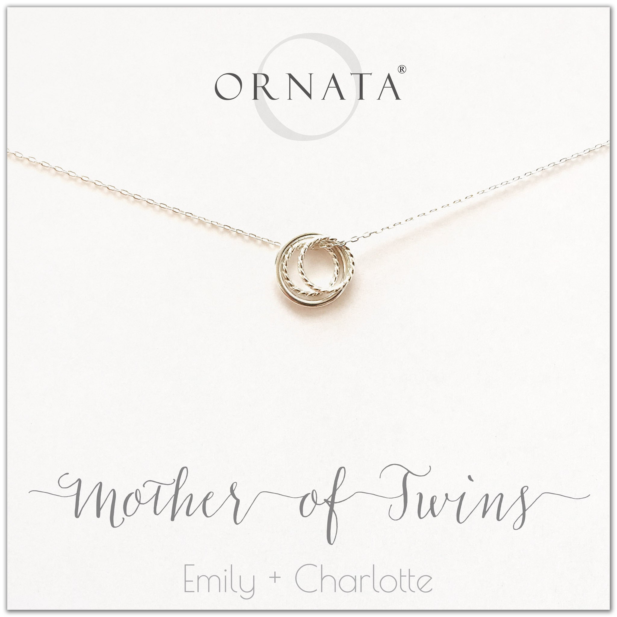 Mother's Day Jewelry - Mother of Twins Sterling Silver Necklace - Personalized for Mom