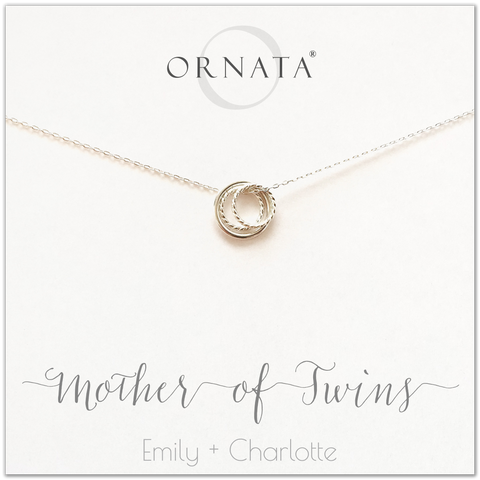 Mom or Mother of Twins - personalized silver necklaces. Our sterling silver custom jewelry is a perfect gift for mothers of twins, daughters, granddaughters, grandmothers, sisters, best friends, wives, girlfriends, and family members. Also a good gift for Mother's Day. Delicate sterling silver rings represent a mother and her two twin children.